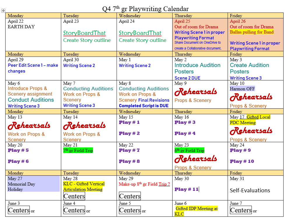 Calendar of Learning for Q4 7th gr SIGNET
