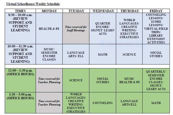 Virtual Schoolhouse Schedule